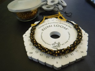 kumihimo with gold beads 2